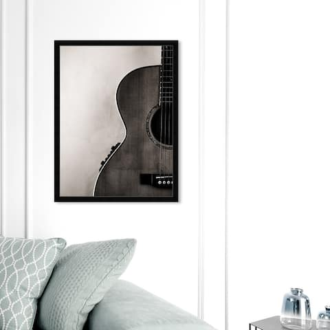 Oliver Gal 'Guitarist' Music and Dance Wall Art Framed Print Music Instruments - Black, White