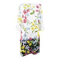 Jessica Howard Women's Floral-Print Bell-Sleeve Dress - Ivory Multi - 8