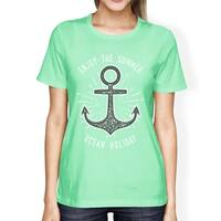 Enjoy The Summer Ocean Holiday Womens Mint Graphic Crewneck Tee