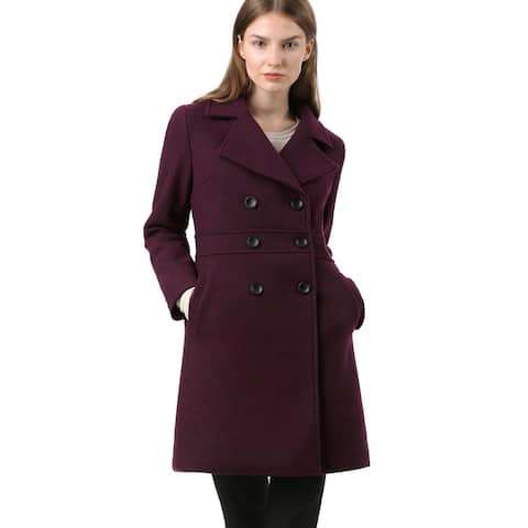 Women's Notched Lapel Double Breasted Long Trench Coat