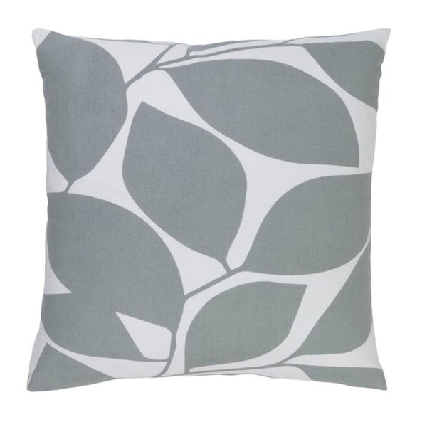"""18"""" Lavish Leaves Pigeon and Timberwolf Gray Decorative Throw Pillow-Down Filler"""