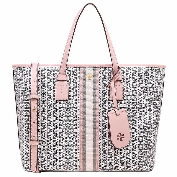 Tory Burch Gemini Link Canvas Small Tote Handbag Pink. Opens flyout.