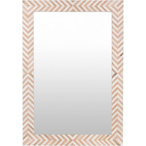 "Egon Geometric Bone Inlay 27x39-inch Rectangular Mirror - 39""H x 27""W"