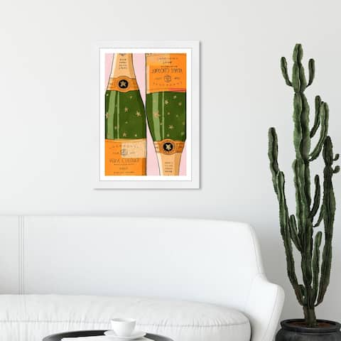 Wynwood Studio 'Shiny Champagne' Drinks and Spirits Wall Art Framed Print Champagne - Orange, Green