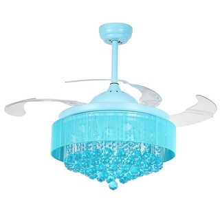 42-inch Retractable 4-Blades Crystal Fandelier Ceiling Fan with Remote