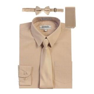 Gioberti Little Boys Khaki Solid Shirt Tie Bow Tie Square Pocket 4 Pc Set