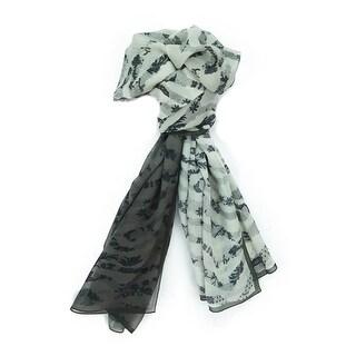 Ungaro UN7018 S7790 Floral Mesh Print Grey/Khaki Silk Scarf