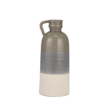 "Ceramic 20"" Decorative Bottle, Gray / Ivory"