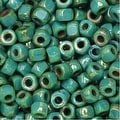 Czech Glass, Tri-Cut 6/0 Matubo Seed Beads, 8 Grams, Turquoise Green Picasso - Thumbnail 0