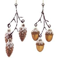 """Pack of 12 Woodland Bronze Acorn and Pine Cone Branch Glass Christmas Ornaments 8"""""""
