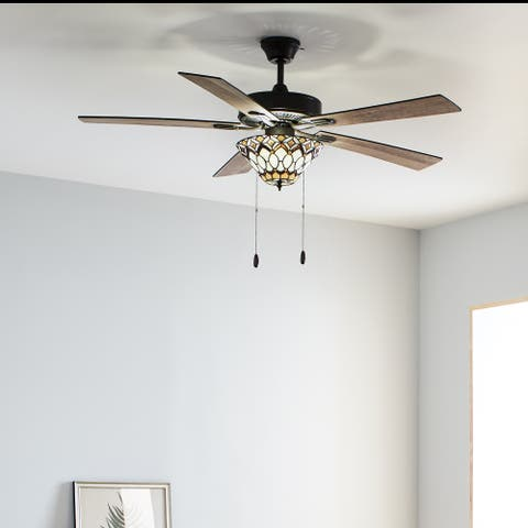 """Hudson River of Goods Amber and Ivory Wood and Metal Stained Glass 52-inch Ceiling Fan - 52"""" x 52"""" x 15""""/20"""""""