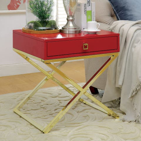 Furniture of America Shea Contemporary Metal X-Base Side Table