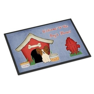 Carolines Treasures BB2832MAT Dog House Collection Papillon Red White Indoor or Outdoor Mat 18 x 0.25 x 27 in.