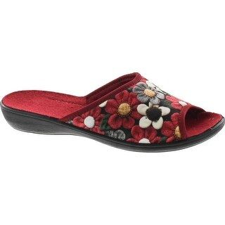 Sc Home Collection Womens 159 Open Toe Low Wedge Flower House Slippers Made In Europe (More options available)