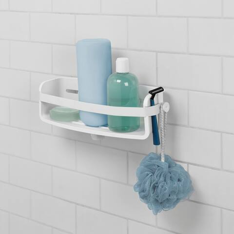 """Umbra 1004001 Flex 4 1/2"""" Tall ABS Plastic Shower Caddy with Suction - White"""