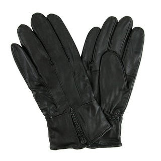 CTM® Men's Leather Fleece Lined Glove with Zipper