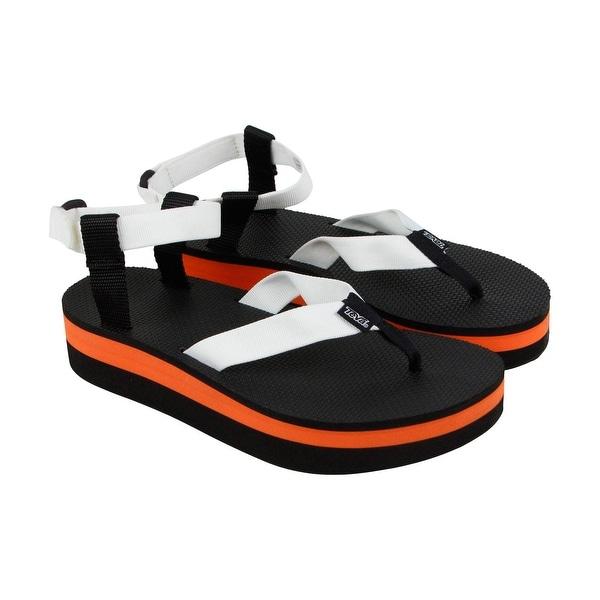 Teva Flatform Womens White Black Textile Flip Flops Slip On Sandals Shoes