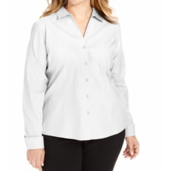 3f6ac80ac Shop Jones New York NEW White Women's Size 14W Plus Button Down Shirt -  Free Shipping On Orders Over $45 - Overstock - 19557460