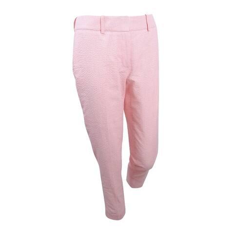 Tommy Hilfiger Women's Cropped Seersucker Pants - Pink/Ivory