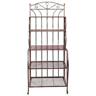 Old Dutch Saddlebrook Bakers Rack, Antique Copper and Rosewood