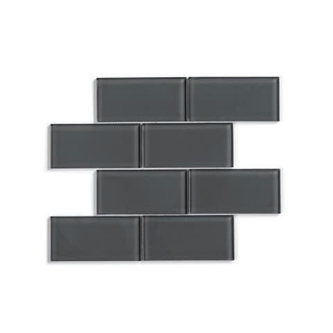 NewAge Products Dark Gray Glass Subway Tile