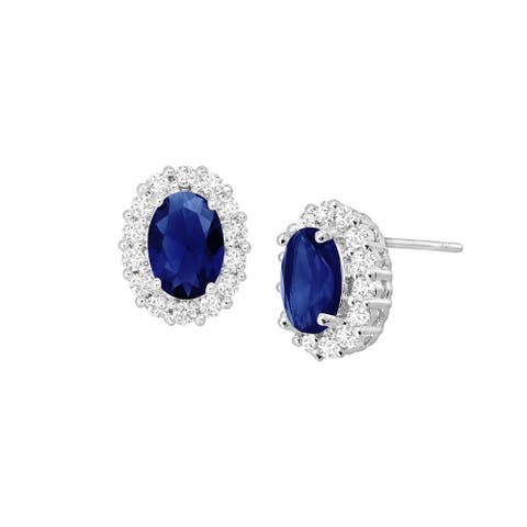 Blue & White Oval Halo Earrings with Cubic Zirconias in Rhodium-Plated Bronze