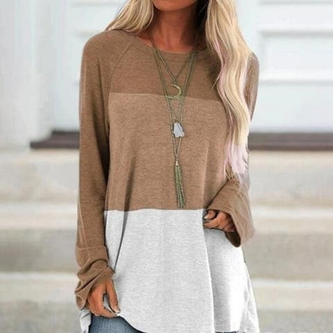 Colorblock Pullover Tops Lightweight Tunic Shirt