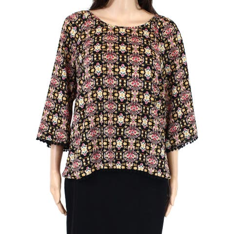 Eyeshadow Womens Blouse Black Yellow Medium M Picot-Trim Trellis-Print