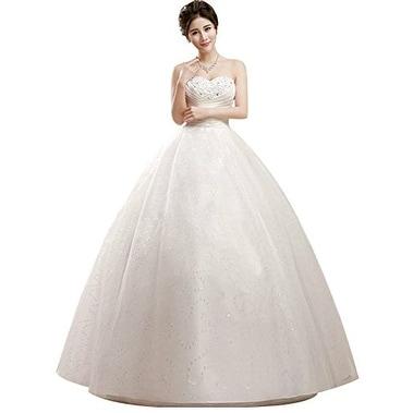 Shop Eyekepper Strapless Ruched Waist Floor Length Wedding Dress 12 ...