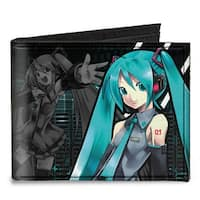 Hatsune Miku Pose Singing Pose Equalizer Black Aqua Canvas Bi Fold Wallet One Size - One Size Fits most