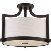 "Nuvo Lighting 60/5888 Meadow 3-Light 16"" Wide Semi-Flush Drum Ceiling Fixture - Russet Bronze"