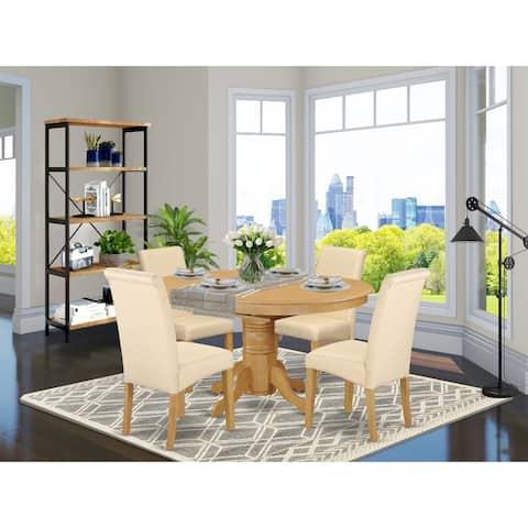 AVBA5-OAK-02 5-Pc Oval Kitchen table with Dark Gotham Grey parson chairs - Oak Finish (Pieces Option)