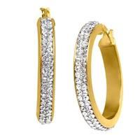 Hoop Earrings with Swarovski elements Crystal in 14K Gold-Bonded Sterling Silver