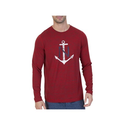 Nautica Sleepwear Mens Sleep Shirt Graphic Crew Neck - XL