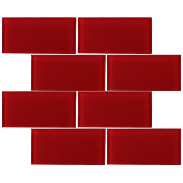 "TileGen. 3"" x 6"" Glass Subway Tile in Red Wall Tile (80 tiles/10sqft.). Opens flyout."