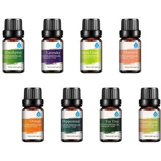 Pursonic AO8 100% Pure Essential Aromatherapy Oils Gift Set-8 Pack, 0.34 Ounces of 8 Scents