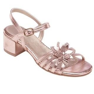 Rachel Shoes Girls Rose Gold Flower Applique Strappy Sandals