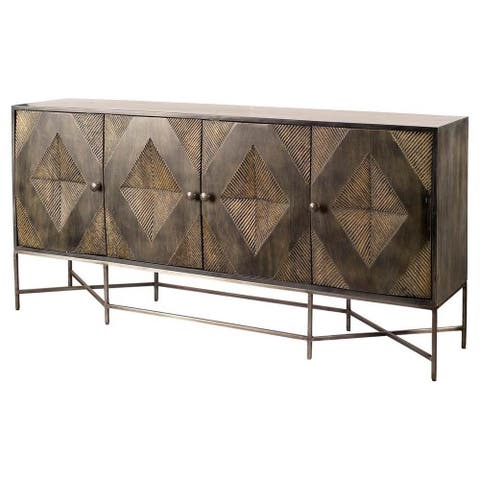 Mercana Hogarth I 72x15 Two-Tone Brown Solid Wood Base Silver Frame 2 Drawer 4 Cabinet Sideboard - 15.0L x 72.0W x 35.0H