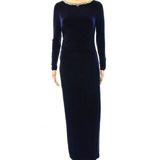 Lauren Ralph Lauren NEW Blue Women 14 Embellished Gathered Maxi Dress
