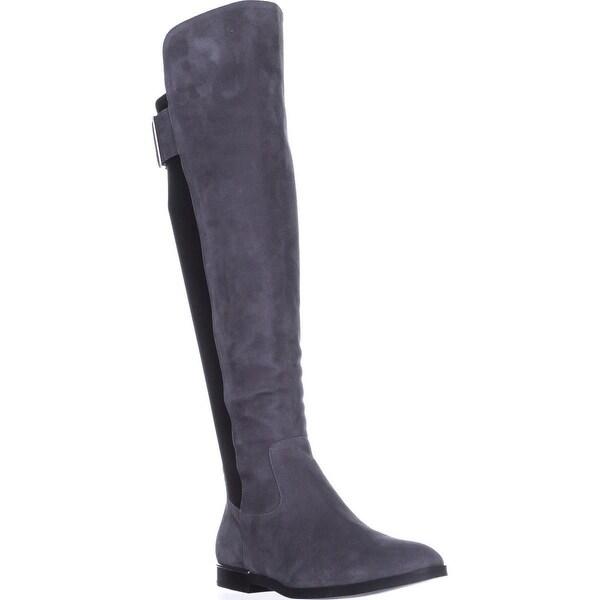Calvin Klein Priya Wide Calf Knee-High Boots, Slate/Black Suede