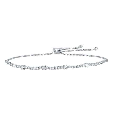 Lab Grown Diamond Slider Bracelet for Women, 5/8 Ctw 10K Solid Gold by Smiling Rocks