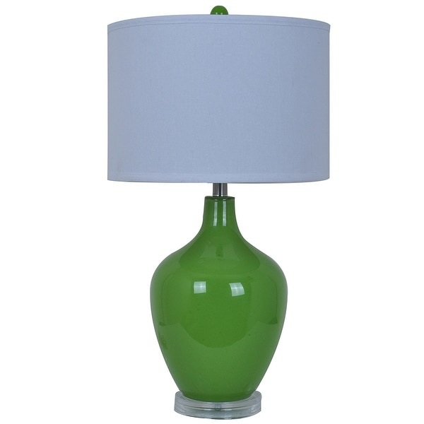 Shop Avery Green Glass Table Lamp Acrylic Base 27 In Tall 15 In
