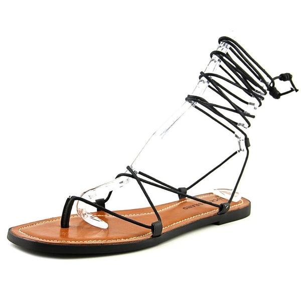 Lucky Brand Binnie Women  Open Toe Leather Black Gladiator Sandal