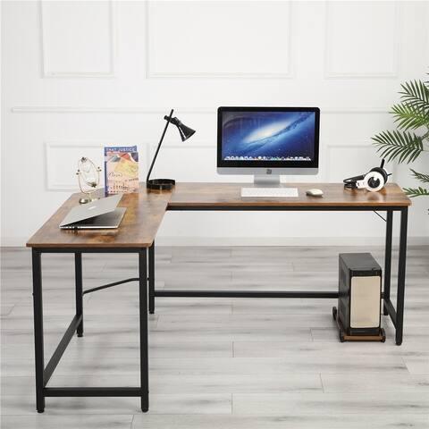 Global Pronex L-Shaped Desk Corner Computer Desk, Black/Espresso/Natural