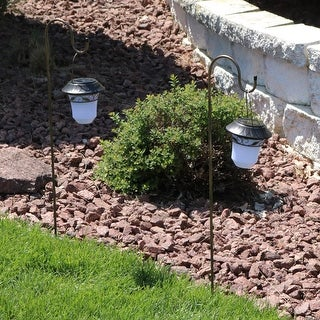 Sunnydaze Elegant Outdoor Hanging Solar Lantern with Shepherd Hook - Set of 2