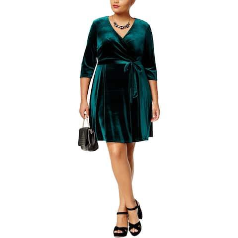 Love Squared Womens Plus Party Dress Velvet Above Knee - 1X