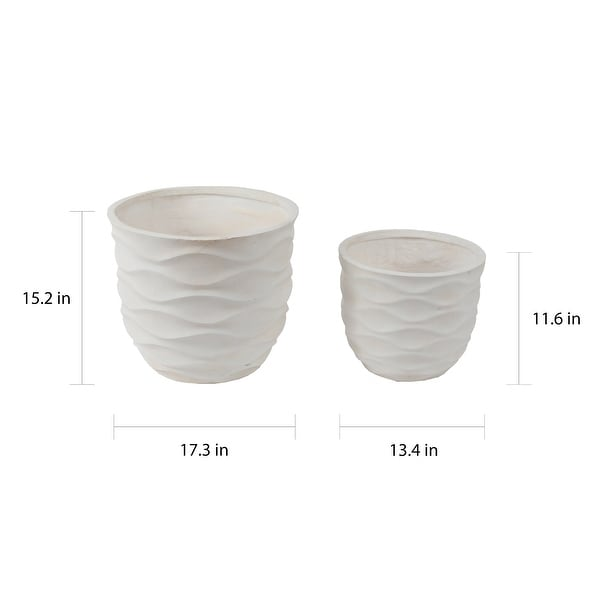 Kayu 2-piece Wavy Design White MgO Planters by Havenside Home