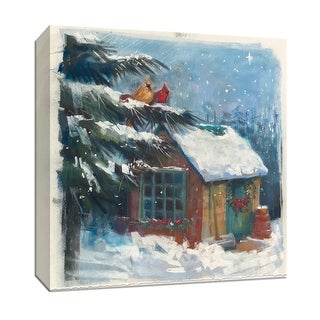 """PTM Images 9-152050  PTM Canvas Collection 12"""" x 12"""" - """"Backyard Beauty"""" Giclee Snow and Wreathes Art Print on Canvas"""
