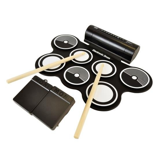 Electronic Drum Kit - Compact Drumming Machine, Quick Setup Roll-Up Design