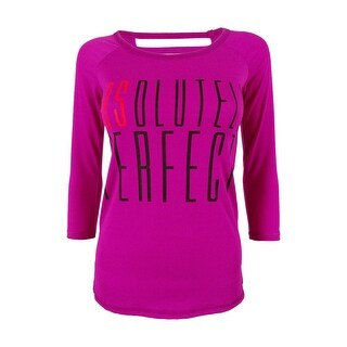 Material Girl Juniors' Strappy Back Graphic Top - femme fuschia